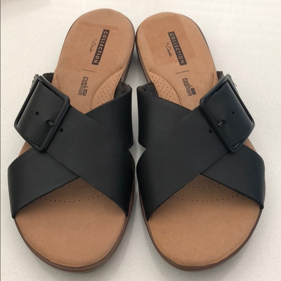 7de73c92d Clarks Kele Heather Black Leather Sandal
